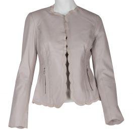 Kožené béžové dámske sako