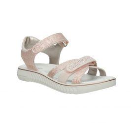 Dievčenské ružové sandále s kamienkami