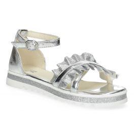 Strieborné dievčenské sandále s volánom