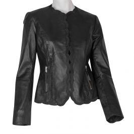 Kožené čierne dámske sako