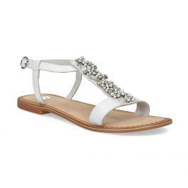 Kožené dievčenské sandále s kamienkami na priehlavku