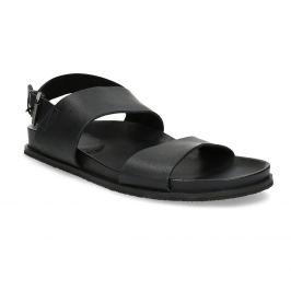 Čierne pánske minimalistické kožené sandále