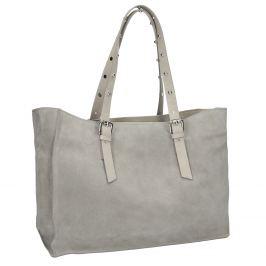 Kožená šedá kabelka s cvočkami