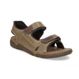 Kožené béžové pánske sandále so suchými zipsami