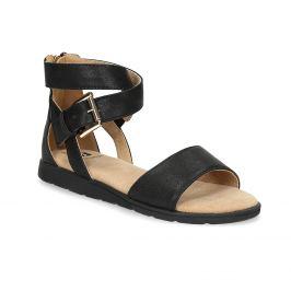 Čierne dievčenské sandále so zlatou sponou