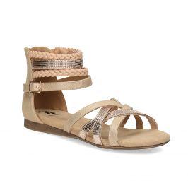 Zlaté dievčenské sandále s pletením