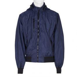 Modrá pánska bunda s kapucňou