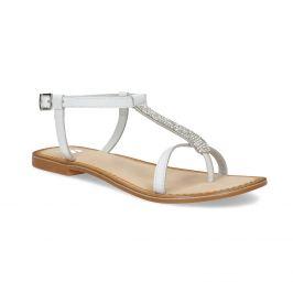Kožené dievčenské sandálky s kamienkami