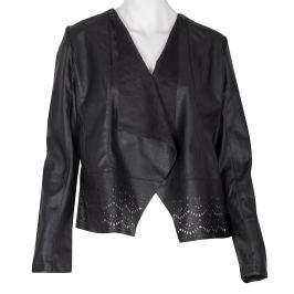 Ľahká koženková bunda s perforovaným lemom