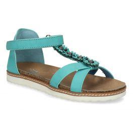 Tyrkysové dievčenské sandále