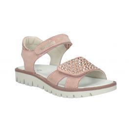Dievčenské ružové kožené sandále s kamienkami