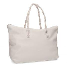 Biela kožená kabelka s prepletenými rúčkami