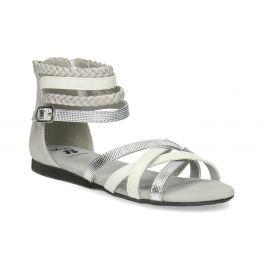 Bielo-strieborné dievčenské sandále