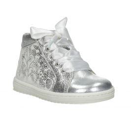 Detská strieborná obuv s mašľou
