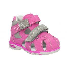 Detské ružové kožené sandále