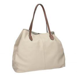 Béžová kožená kabelka s hnedými rúčkami