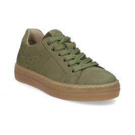 Detské zelené kožené tenisky