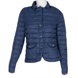 Modrá prešívaná bunda s golierom