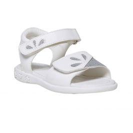 Biele detské sandále s trblietkami