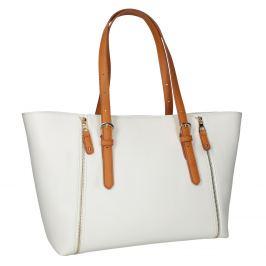 Krémová kabelka s ozdobnými zipsami
