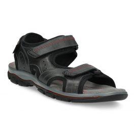 Pánske kožené sandále na suchý zips čierne