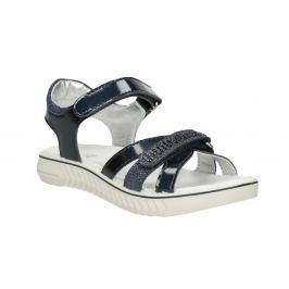 Modré dievčenské sandále s kamienkami