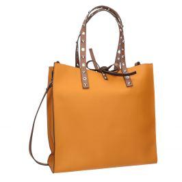 Oranžová shopper bag kabelka s cvočkami