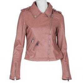 Ružová koženková bunda s golierom