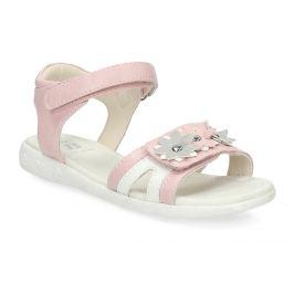 Ružovo-biele dievčenské sandále s kvetmi