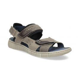 Kožené šedé sandále na suchý zips