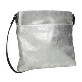 Strieborná kožená Crossbody kabelka