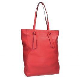 Červená kožená kabelka v štýle shopping bag