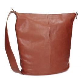 Kožená hnedá kabelka so širokým popruhom