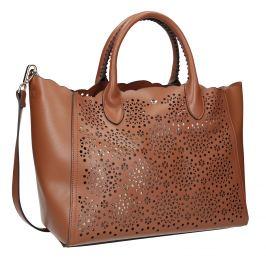 Hnedá dámska kabelka s perforáciou