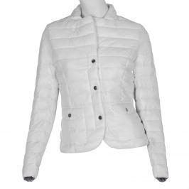 Biela prešívaná bunda s golierom
