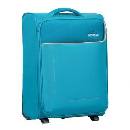 Tyrkysový cestovný kufor