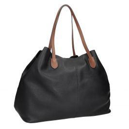 Čierna kožená kabelka s hnedými rúčkami