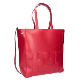 Priestranná červená kabelka s prepletaním