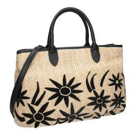 Pletená čierna kabelka v prírodnom dizajne
