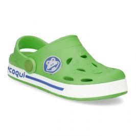 Detské zelené sandále so žabkou