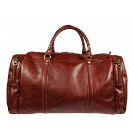 Hnedá kožená cestovná taška Saba Marrone