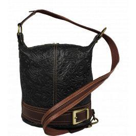 Detail · Talianská kožená kabelka Adele Stampa Nera Marrone 5a9f9e15544