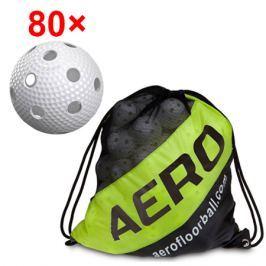 80x florbalová loptička Salming Aero Plus + vak Salming Ball Sack