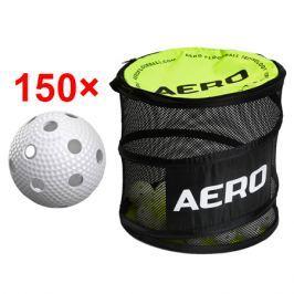 150x florbalová loptička Salming Aero Plus + vak Salming Ball Bag