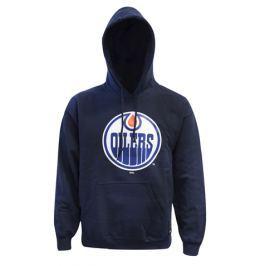 Pánska mikina Majestic NHL Edmonton Oilers Logo Hoodie tmavo modrá
