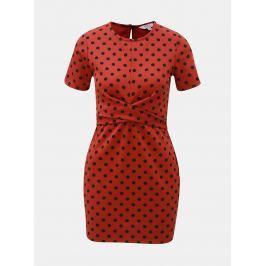 93f6f4feadbc Tehlové bodkované šaty Miss Selfridge Petites