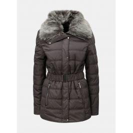 03ad946d58a4 Detail · Sivá prešívaná zimná bunda s umelou kožušinkou Dorothy Perkins Tall