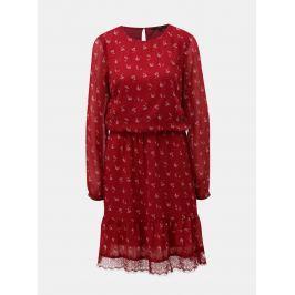 be8127171350 Detail · Červené kvetované šaty s dlhým rukávom a čipkou VERO MODA Viola