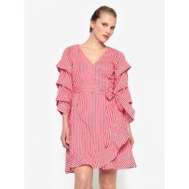 9414748553a0 Detail · Krémovo-červené pruhované prekladané šaty VILA Picana