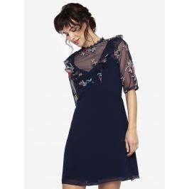 d43aebd1e9de Detail · Tmavomodré šaty s priesvitným sedlom a volánmi Little Mistress